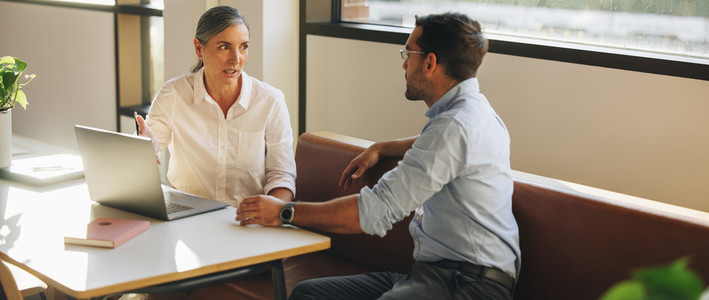 Woman sharing project details with business partner