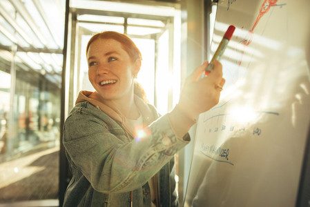 Female student pointing at whiteboard and smiling