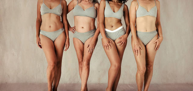 Unknown natural female bodies of all ages