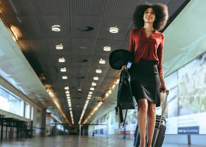 Businesswoman walking in airport