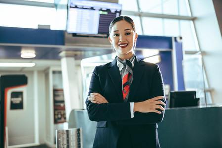 Confident flight attendant