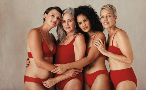 Cropped shot of diverse women embracing their natural bodies