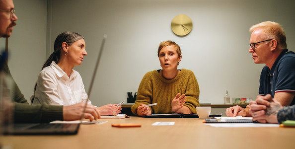 Businesswoman discussing new plan in meeting with colleagues