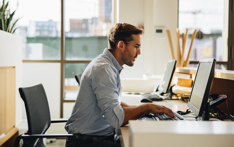 Business executive working on computer