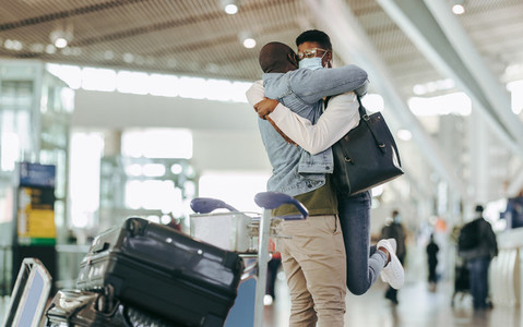 Couple meet after long separation at airport