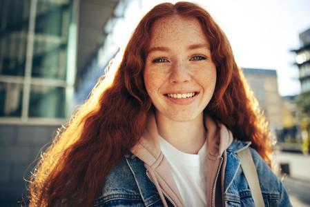 Beautiful student smiling at camera