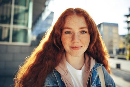 Female student standing outside