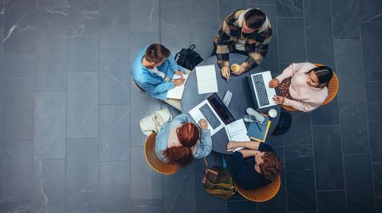 Students preparing for exam in college campus