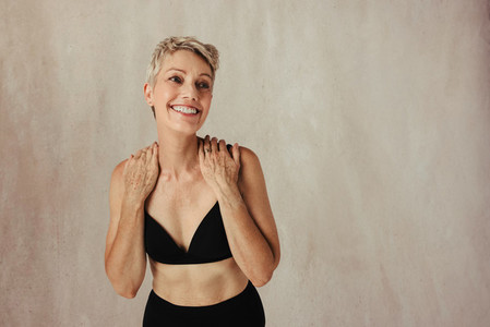 Mature woman happy in her own skin