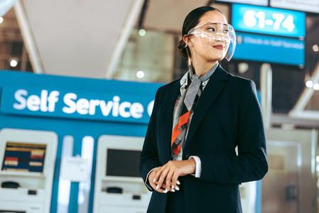 Female airport employee