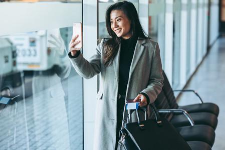 Traveler at airport terminal