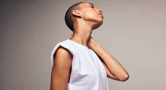 Androgynous female with shaved head