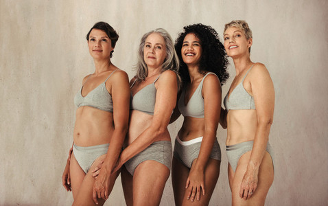 Group of diverse women in their natural bodies