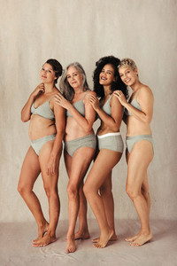 Attractive group of women embracing their natural bodies
