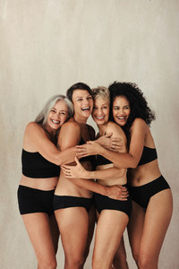 Happy group of natural women