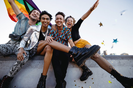 Members of the LGBTQ community celebrating gay pride