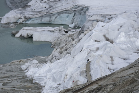 Glacier covered with protective plastic Switzerland