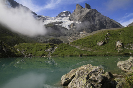 Idyllic mountain Lake Oberhornsee Switzerland