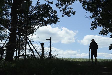 Man hiking on sunny trail Germany