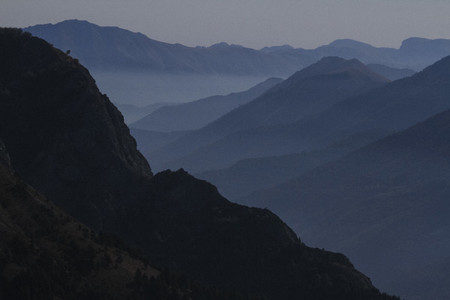 Silhouetted mountain range Italy