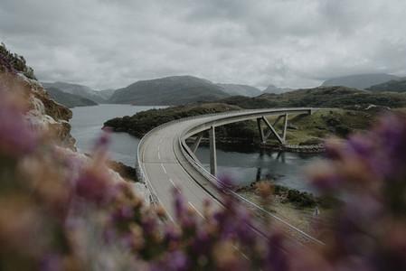 Scenic view Kylesku Bridge and river Scotland