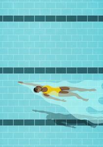 Woman swimming backstroke in blue swimming pool