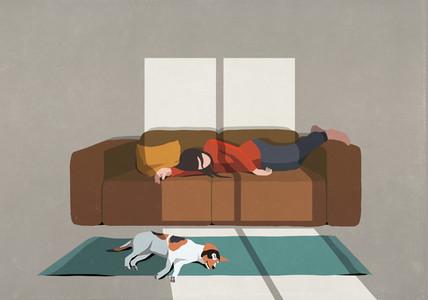 Exhausted woman and dog sleeping on sofa and rug