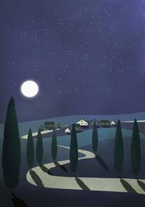 Full moon and stars illuminating idyllic rural village