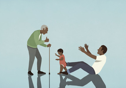 Multigenerational family playing