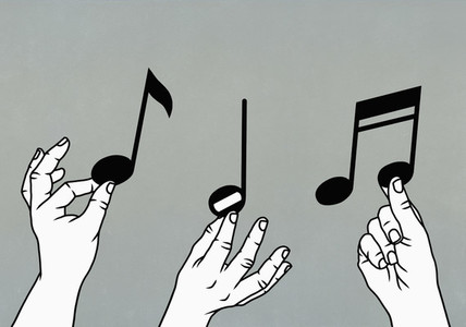 Hands reaching for musical notes