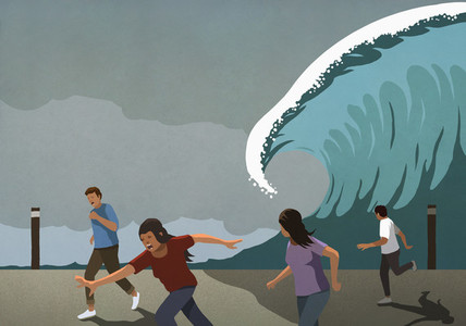 People running from tidal wave