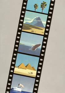 Nature travel images on camera film