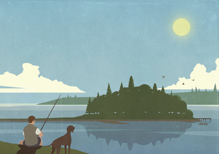 Man with dog fishing at sunny idyllic summer lake