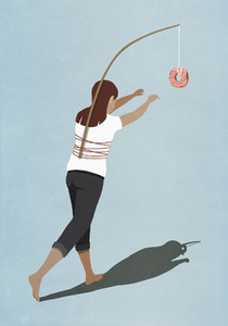 Woman chasing donut tied to stick on back