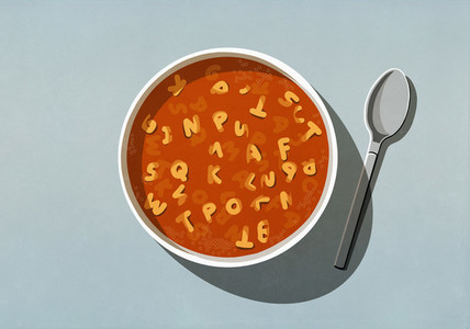 View from above alphabet soup in bowl
