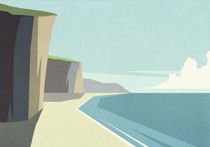 Cliffs on sunny tranquil ocean beach