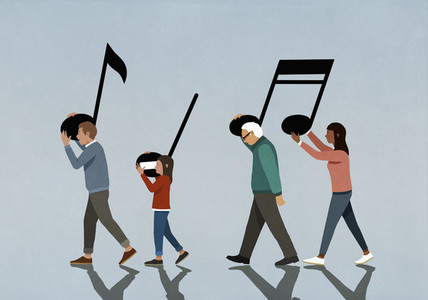 Family carrying music notes