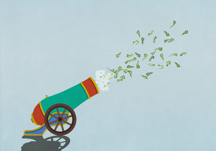 Money flying out of exploding cannon
