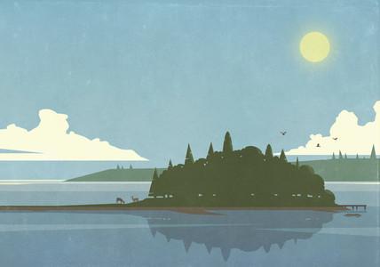 Sunny scenic view of island lake