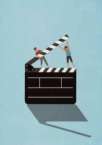 Couple lifting film slate