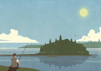 Man fishing at tranquil summer lake with island