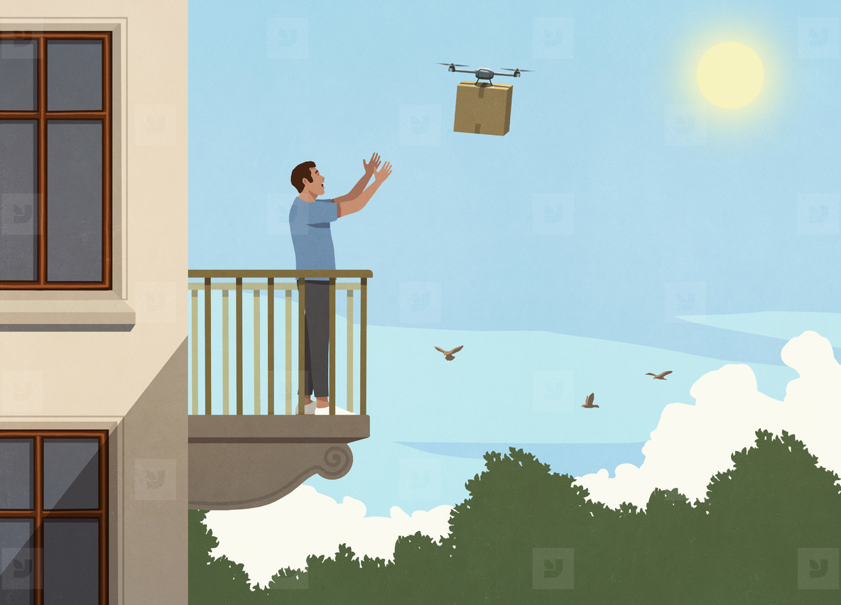 Man receiving drone package on sunny apartment balcony