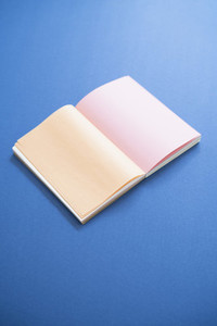 Blank pages in open journal on blue background