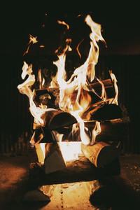 Close up vibrant campfire