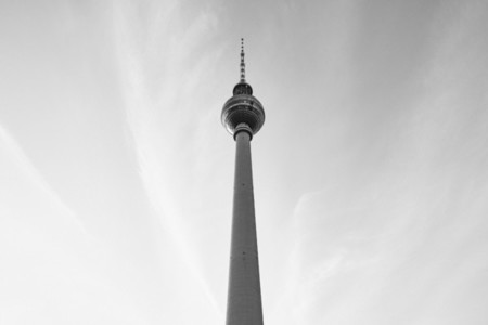 Berlin Television Tower against cloudy sky Germany