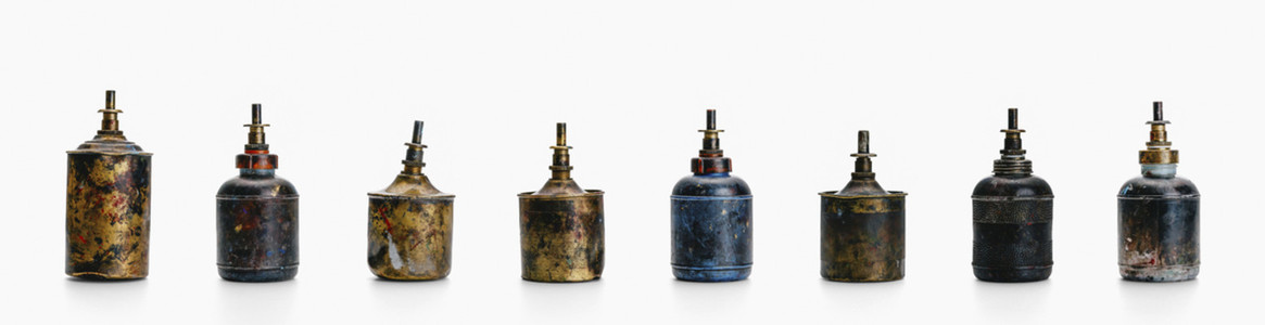 Still life arrangement of vintage benzine dispensers