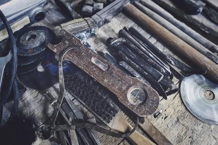 Close up rustic sculptor tools