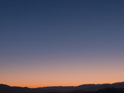 Pink and blue dusk sky France