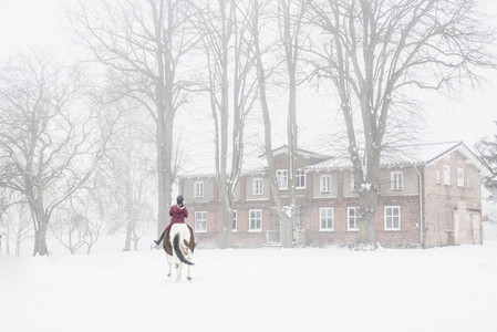 Girl riding horse in snow outside