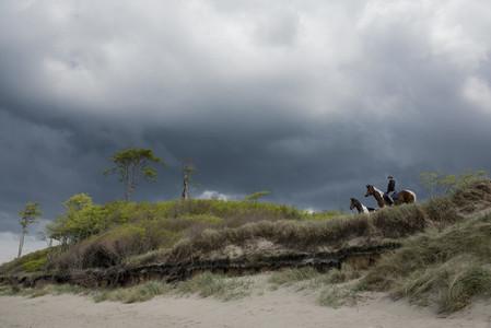 Girl on horseback in beach grass below stormy sky